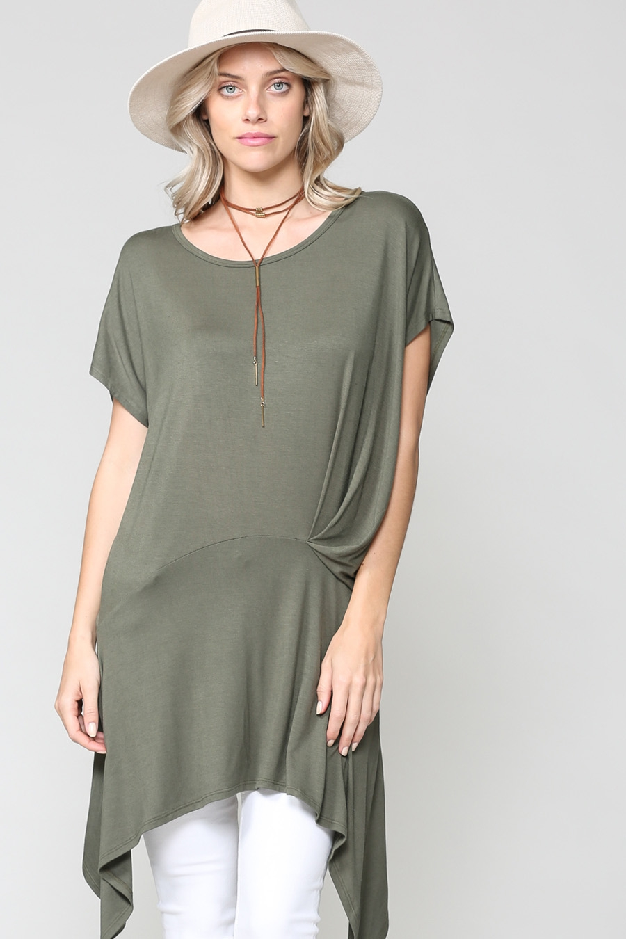 SOLID HIGH LOW HEM CAP SLEEVE TUNIC - orangeshine.com