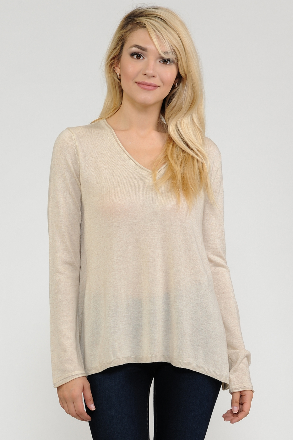 V neck  A line  sweater top - orangeshine.com