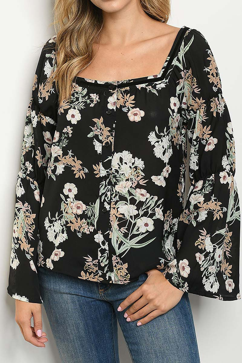 BUTTON FRONT BELL SLEEVE FLORAL TOP - orangeshine.com