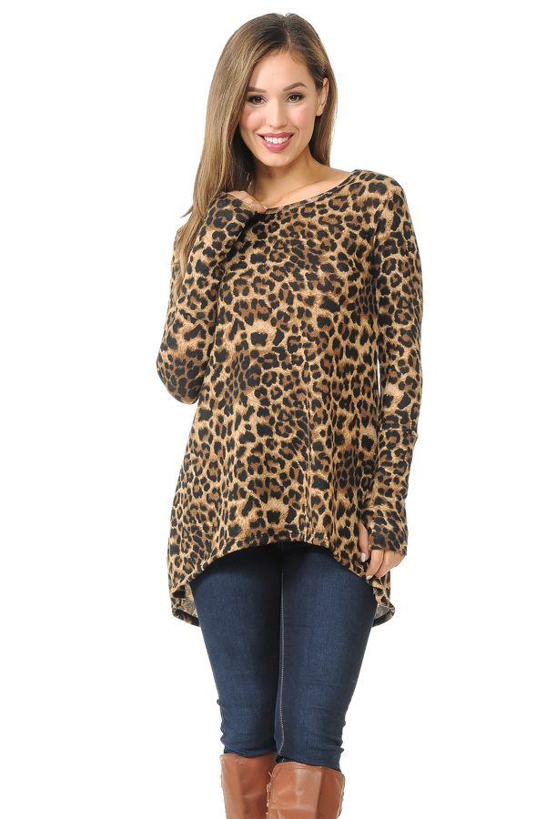 HI-LOW ANIMAL TUNIC WITH THUMB HOLE - orangeshine.com