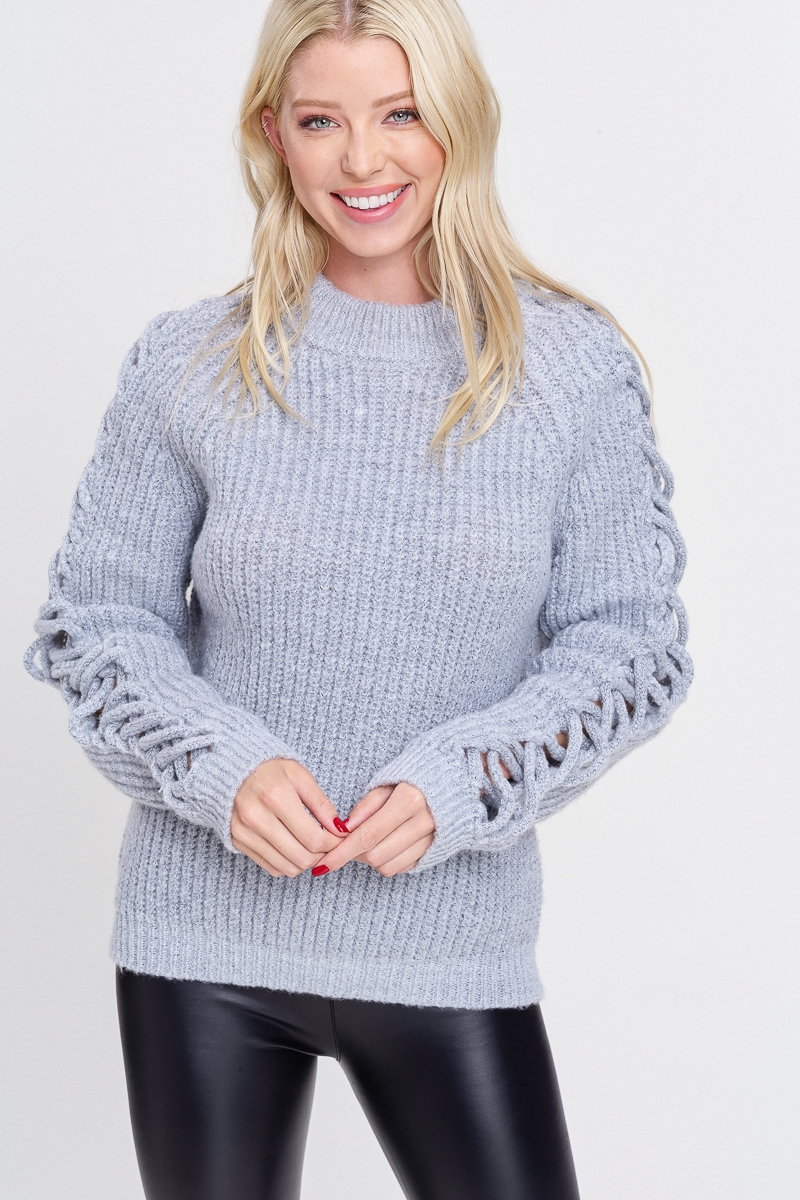 Solid Thick Knit Sweater - orangeshine.com