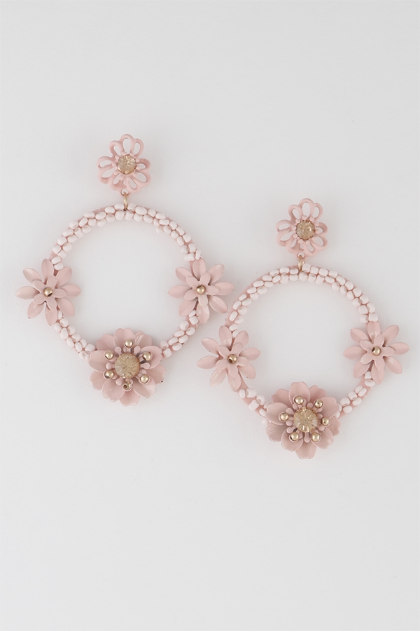 Monotone Flowers Hoop Drop Earrings - orangeshine.com