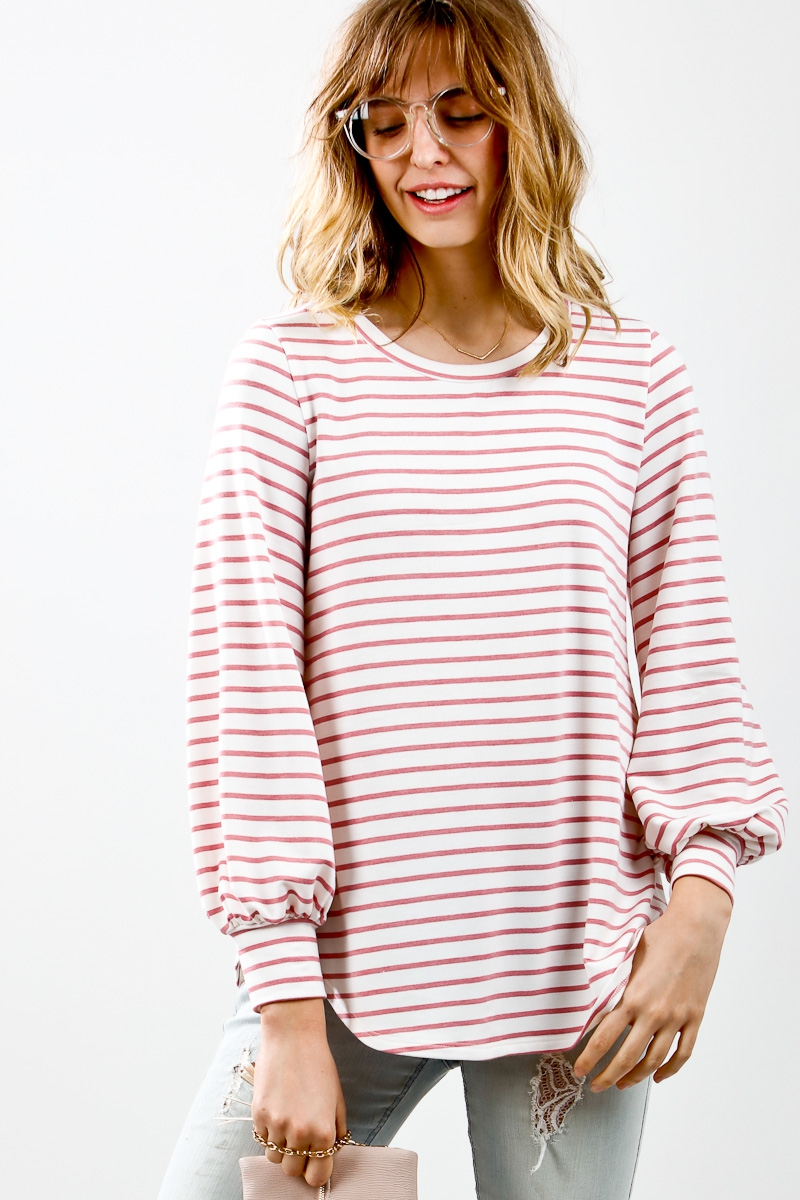 Striped puff long sleeve top - orangeshine.com