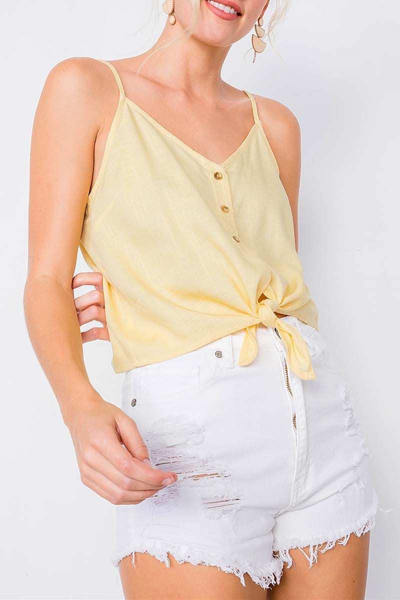 V NECK BUTTON DOWN FRONT TIE CAMI TO - orangeshine.com