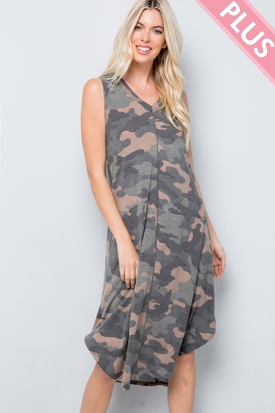 Plus Size Camo sleeveless Dress - orangeshine.com