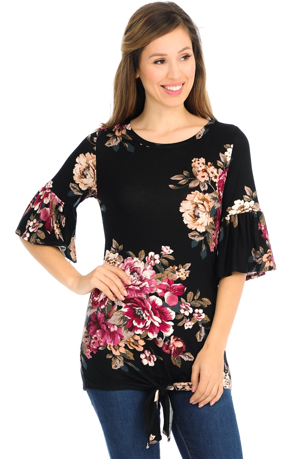 HALF SLEEVE FLORAL TOP WITH FRONT TI - orangeshine.com