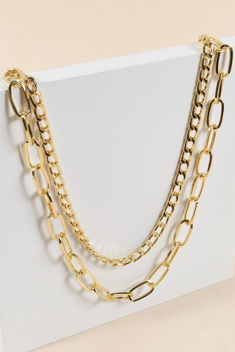 Double Layered Chain Linked Necklace - orangeshine.com