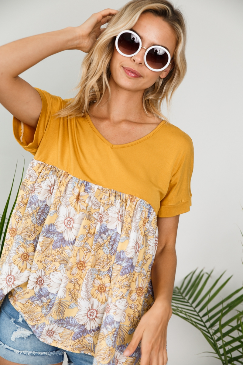 SOLID FLORAL MIXED BABY DOLL TOP - orangeshine.com