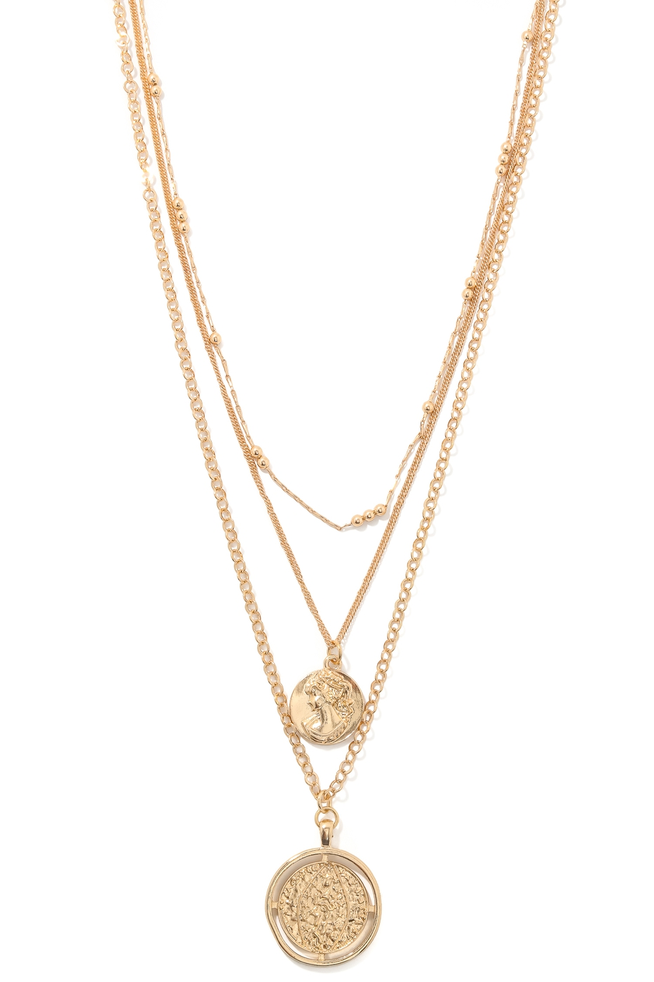 Double Coin Charm Layered Necklace - orangeshine.com
