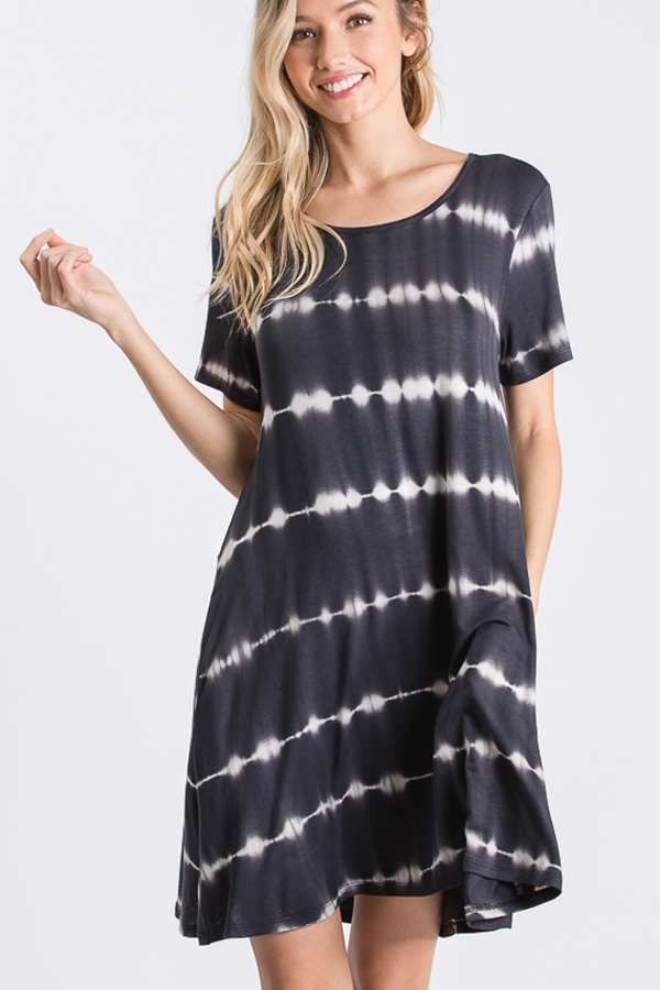 TIE DYE PRINT DRESS WITH SIDE POCKET - orangeshine.com