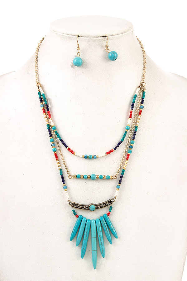 BEADED FRINGE BAR GEM NECKLACE SET  - orangeshine.com