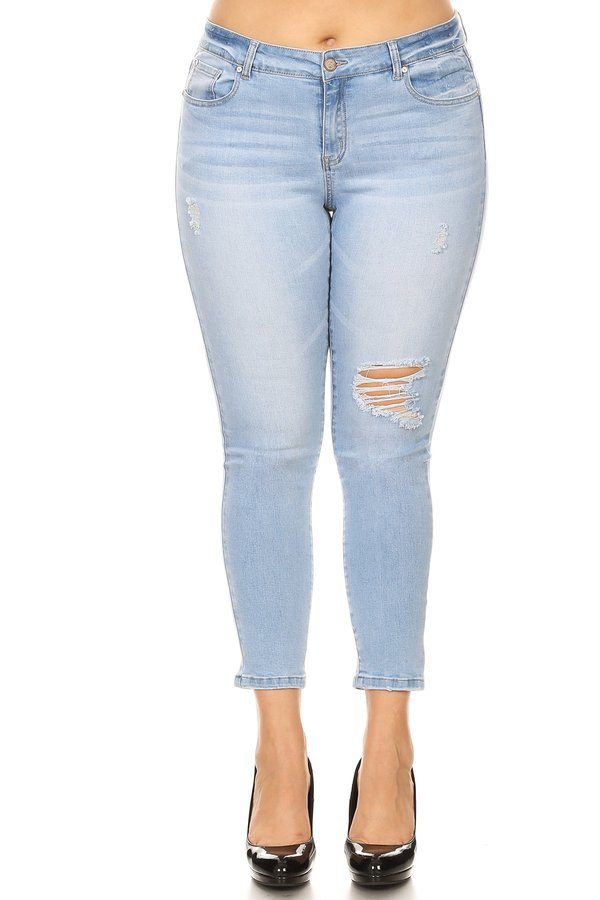 Plus Size Mid Rise Distressed Jeans - orangeshine.com