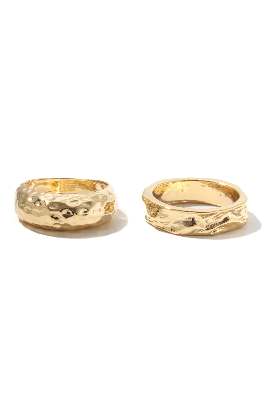 Warped Metallic Band Rings Set - orangeshine.com