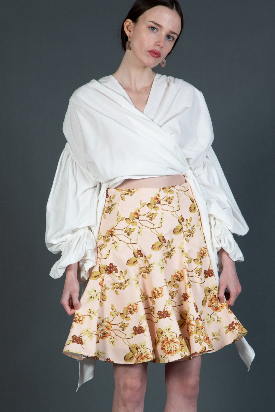Floral Knee Length Skirt - orangeshine.com