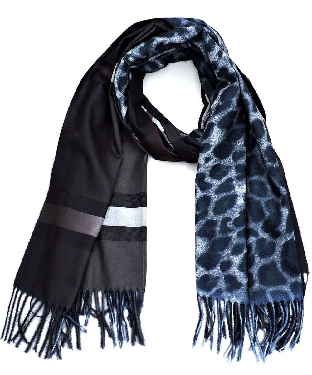 Plaid Check Leopard Scarf  - orangeshine.com
