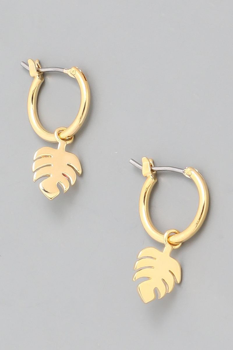 Monstera Leaf Hoop Drop Earrings - orangeshine.com
