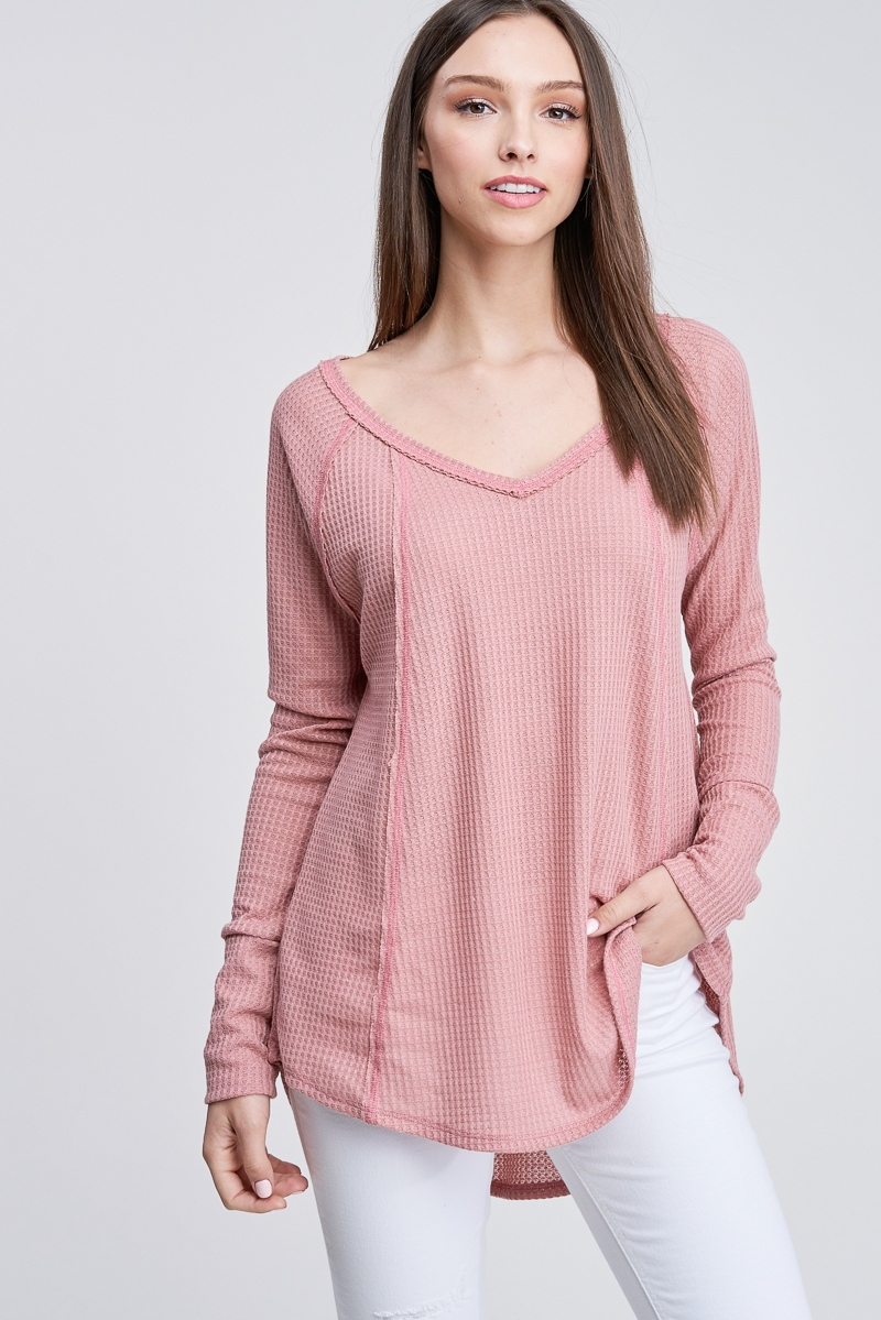 Long Sleeve Waffle Knit V-Neck Top - orangeshine.com