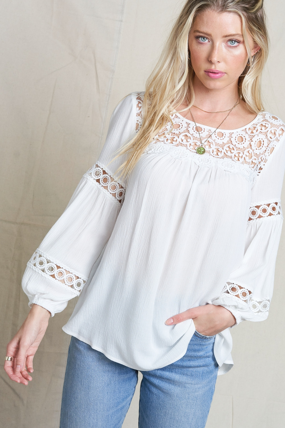 EMBROIDERED BLOUSE ROUND NECK TOP - orangeshine.com