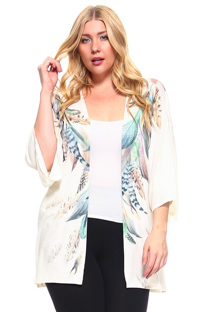 Feather Print Cardigan  - orangeshine.com
