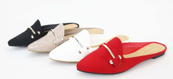 JP Pointed Toe Ornament Flat Mules - orangeshine.com