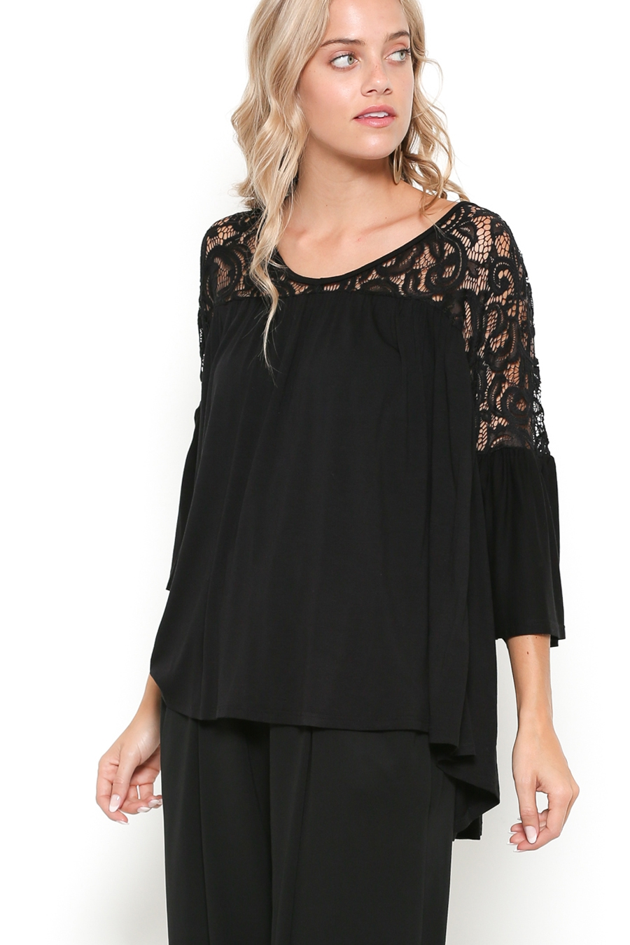 OVERSIZE LACE SHOULDER BOHEMIAN TOP - orangeshine.com