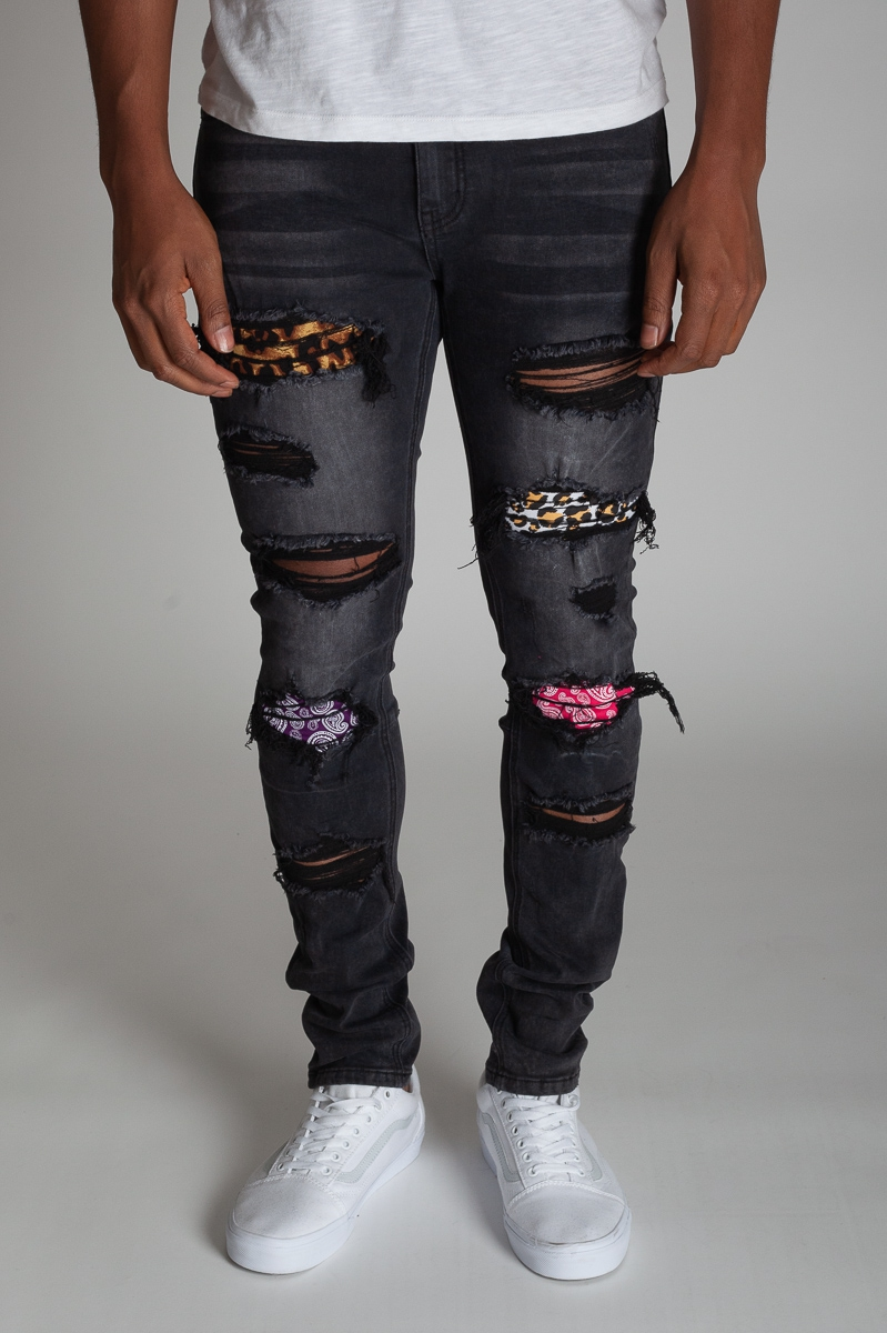 MULTI-PATCH DENIM JEAN - orangeshine.com