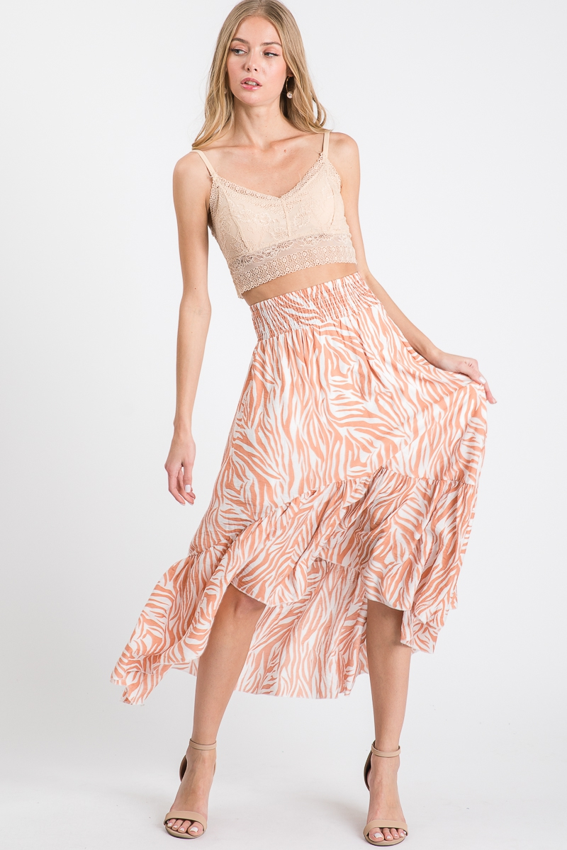 SMOCKING WAIST HI LOW SHIRRED SKIRT - orangeshine.com