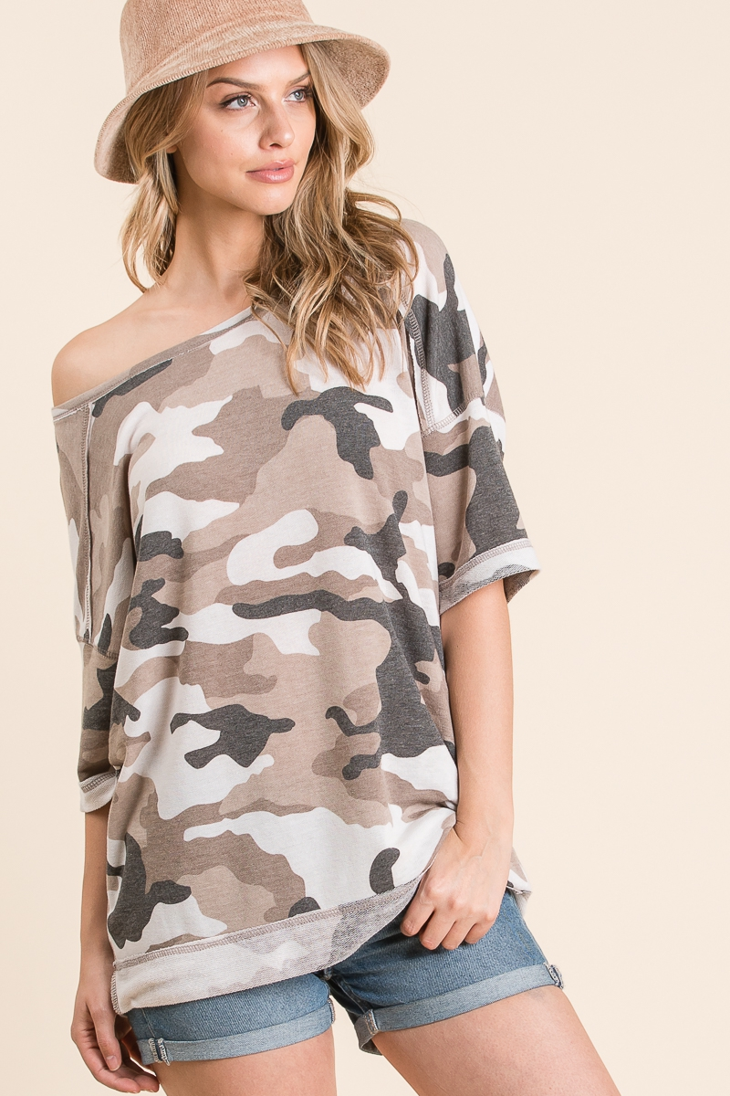 LOOSE FIT BROWN CAMO TOP - orangeshine.com