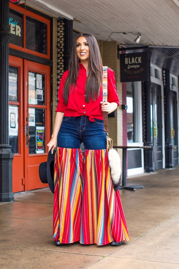 DENIM RED SERAPE PARTY PANTS - orangeshine.com