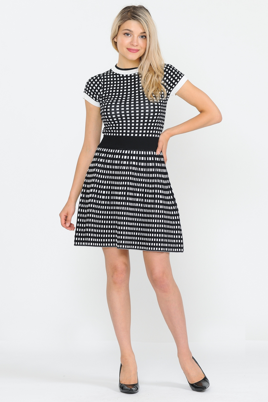 Gingham fit and flare sweater dress - orangeshine.com