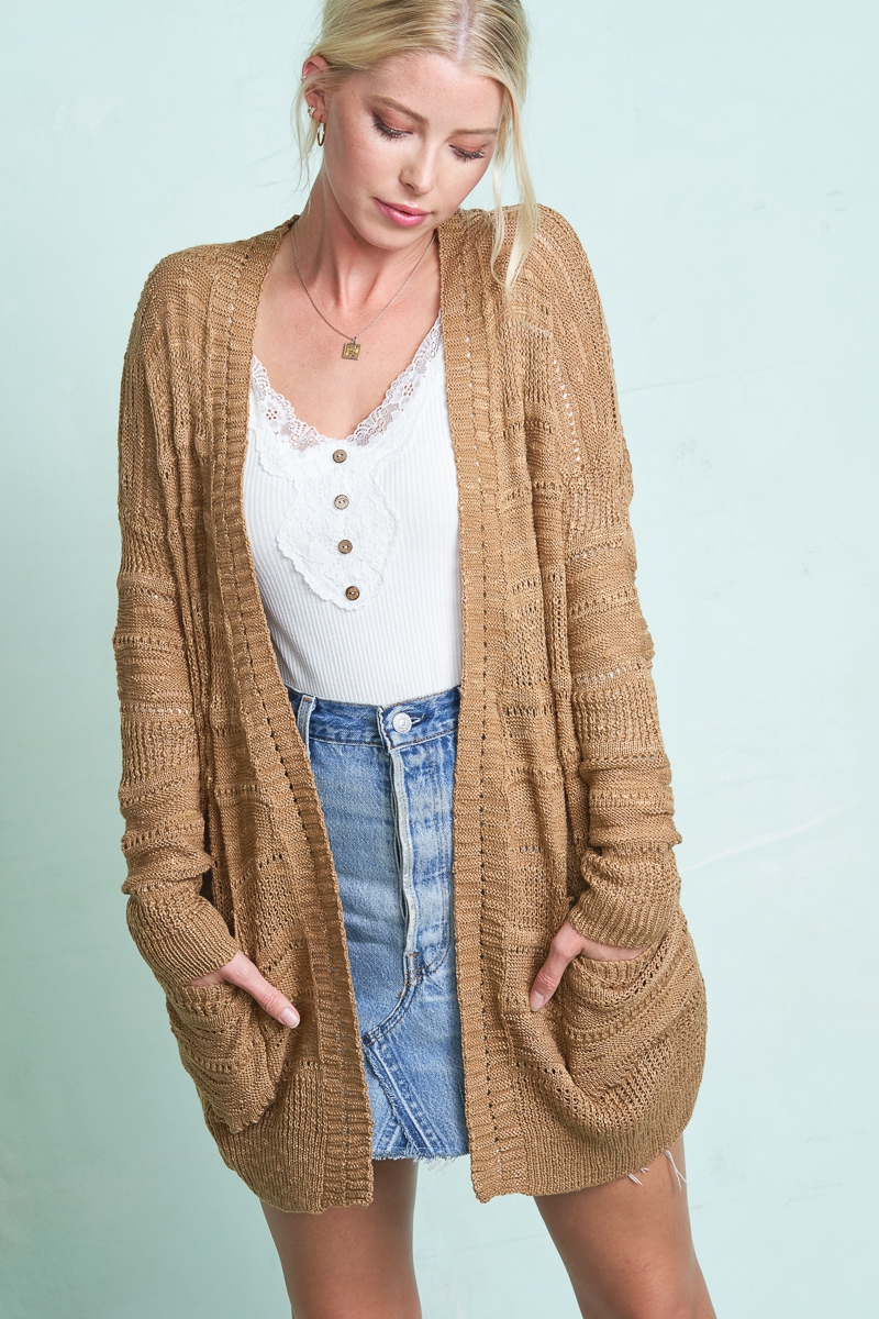 Knit Sweater cardigan with pockets - orangeshine.com