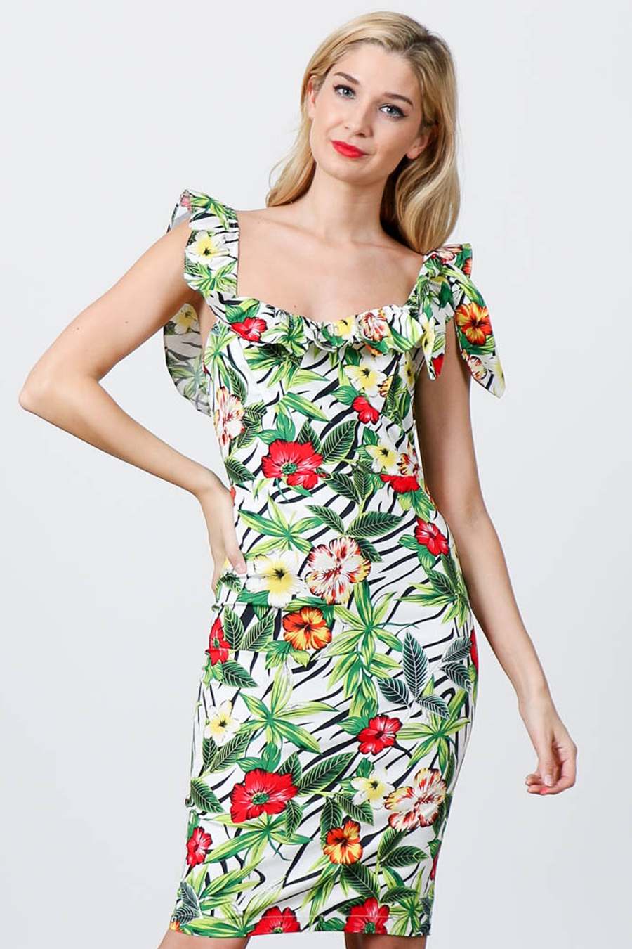 HAWAIIAN PRINTED MIDI BODYCON DRESS  - orangeshine.com