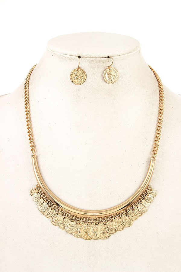 ETCHED COIN BIB NECKLACE SET   - orangeshine.com