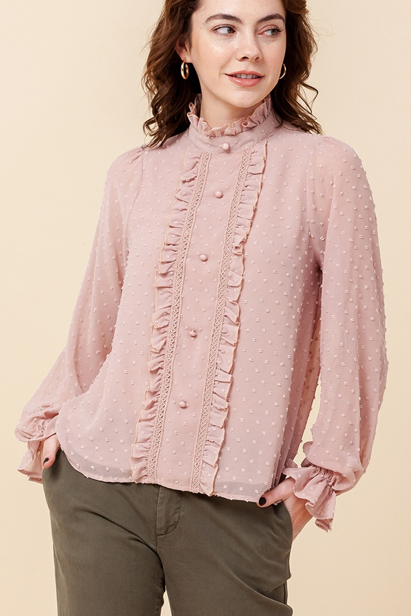 MOCK NECK SWISS DOT BLOUSE - orangeshine.com