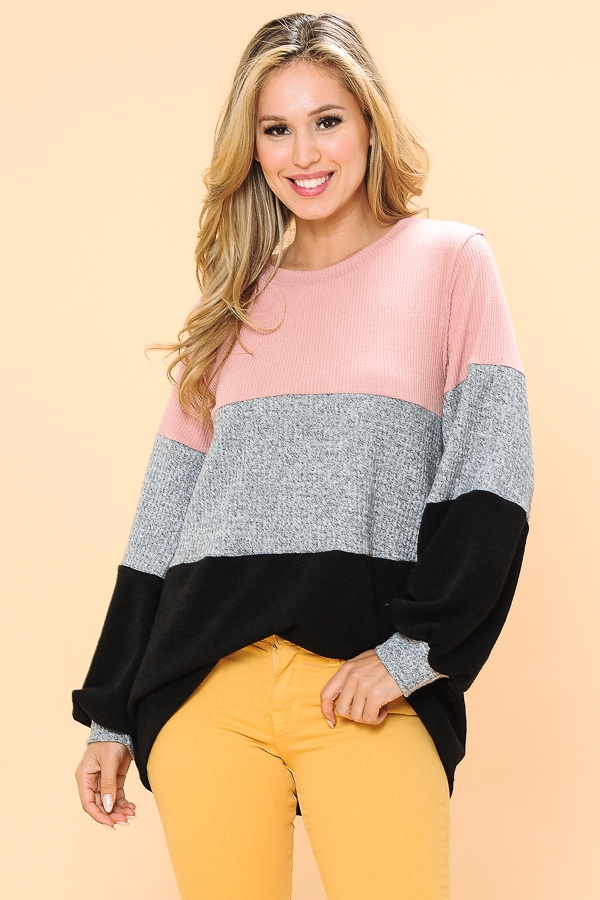 OVERSIZE COLOR BLOCK TUNIC - orangeshine.com