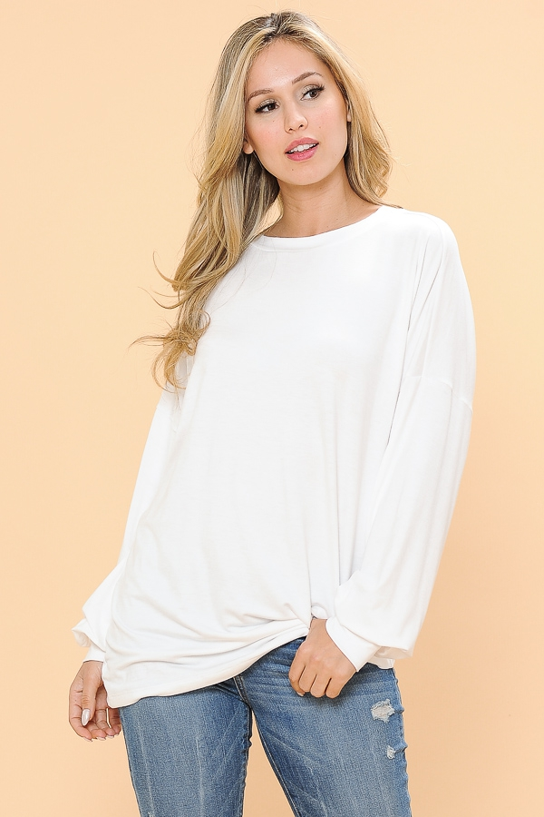 RELAXED FIT LONG SLEEVE TOP - orangeshine.com