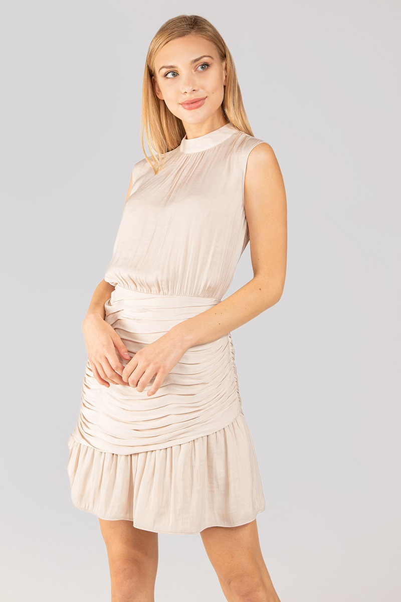 Mock Neck Dress With Ruched Skirt - orangeshine.com