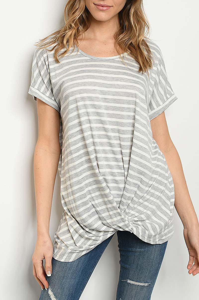 ROUND NECK TWIST FRONT STRIPE TOP  - orangeshine.com