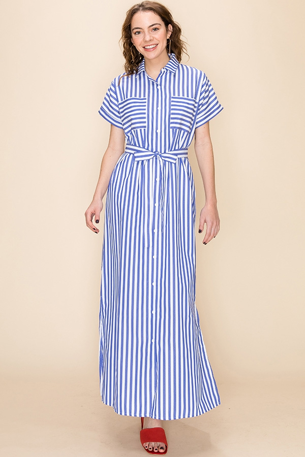 STRIPE T-SHIRT DRESS WITH WAIST TIE - orangeshine.com