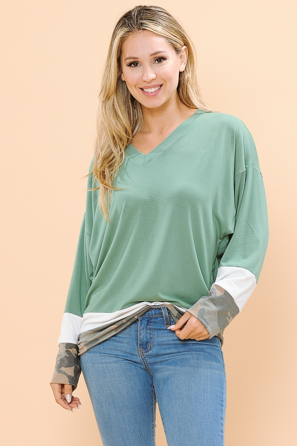 V-NECK OVERSIZE TUNIC TOP  - orangeshine.com