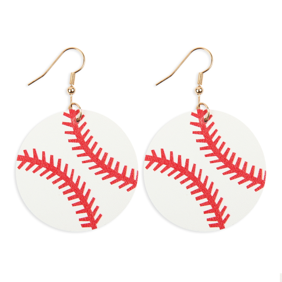 SPORTS LEATHER ROUND DROP EARRINGS - orangeshine.com