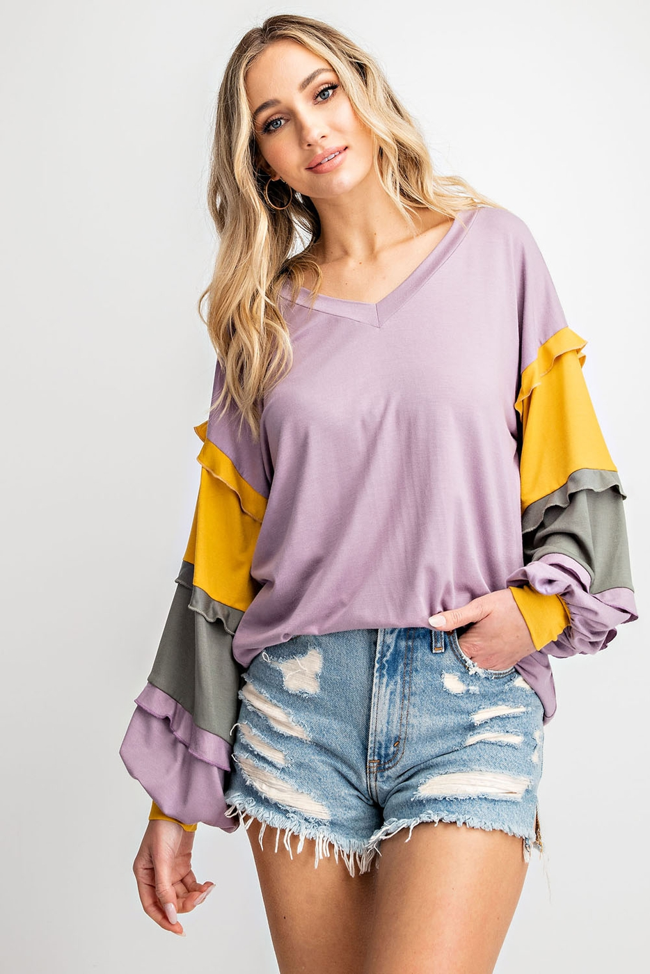 COLOR BLOCK RUFFLE BUBBLE SLEEVE TOP - orangeshine.com