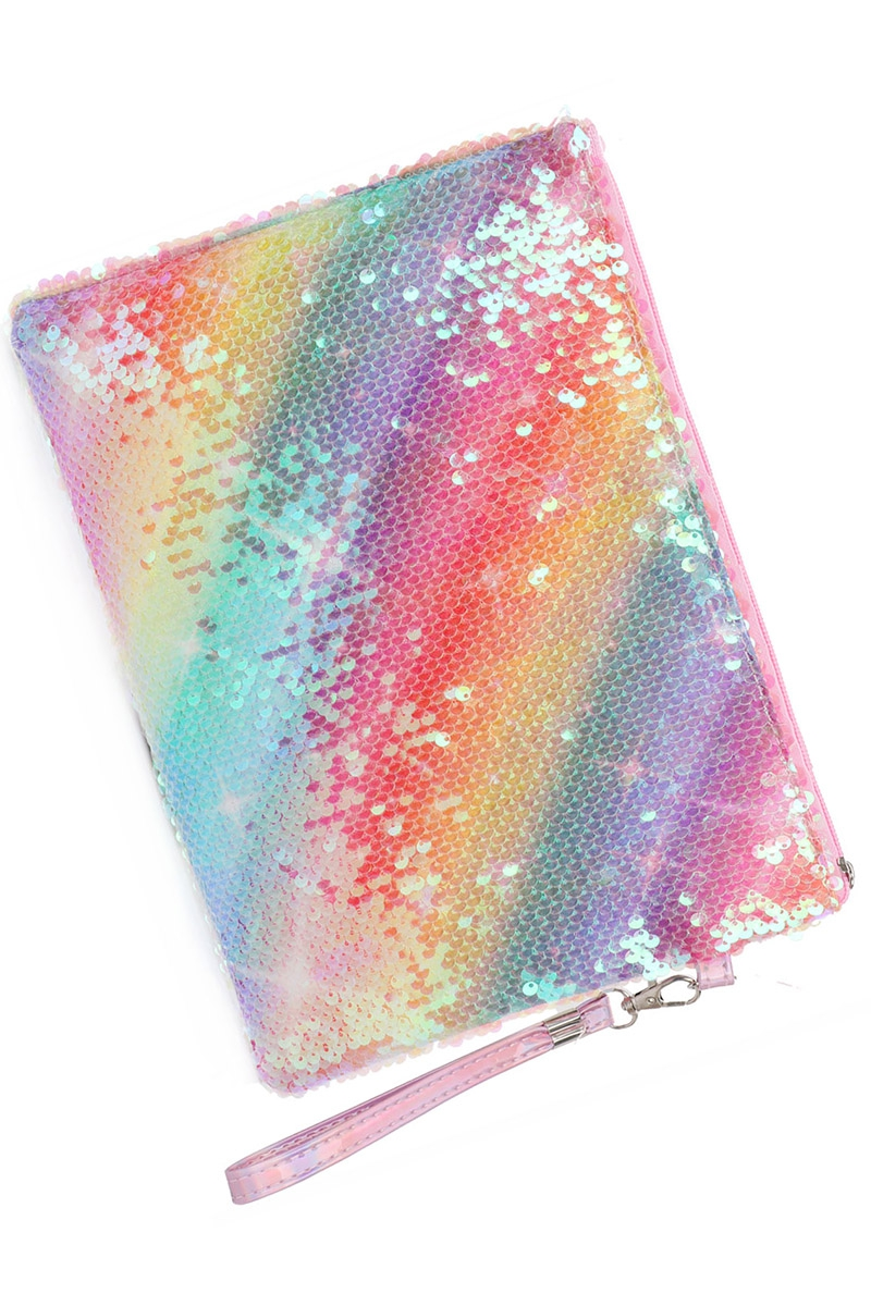 Sequin Accent Multi Tone Pouch - orangeshine.com