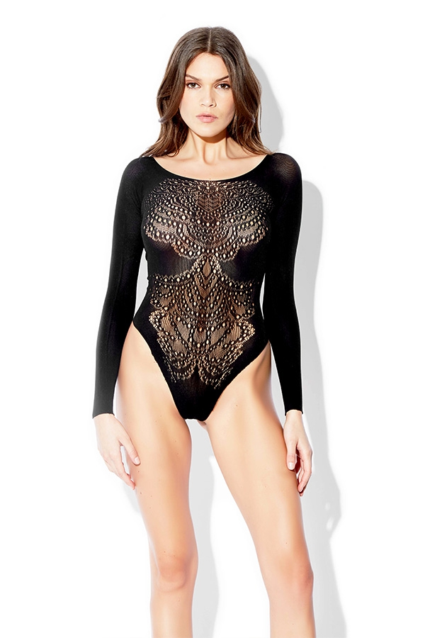 Embellished Open Back Thong Teddy - orangeshine.com