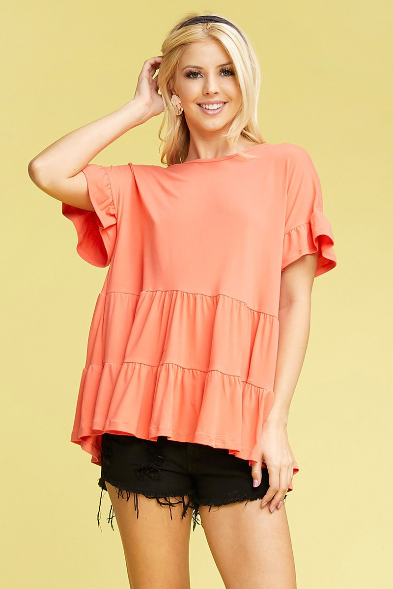 SHORT SLEEVE RUFFLE DETAIL HEM TOP - orangeshine.com