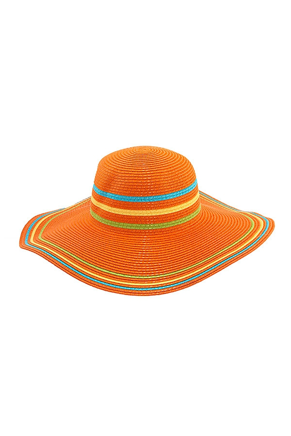 MULTI COLOR BRIM STRAW SUNHAT  - orangeshine.com