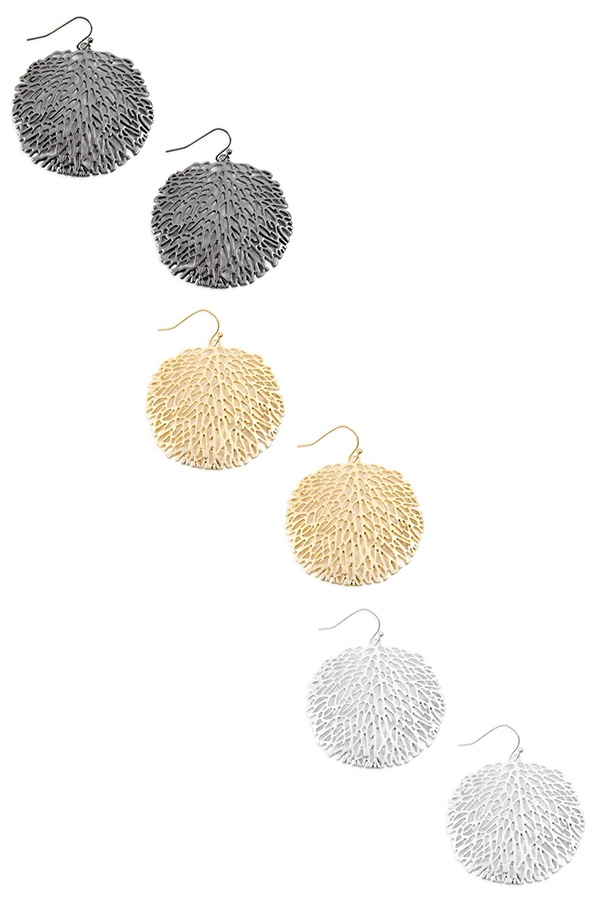 FILIGREE DISC DROP EARRINGS - orangeshine.com