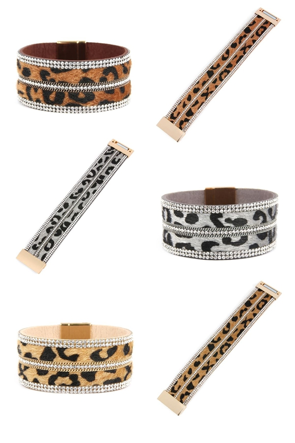 FAUX LEATHER RHINESTONE BRACELETS - orangeshine.com