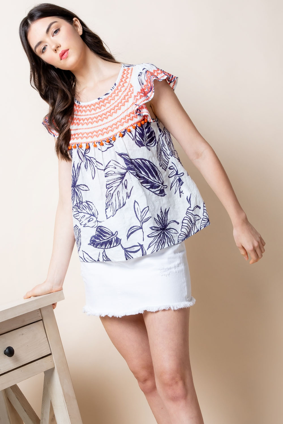 Tropical Printed Top With Embroidery - orangeshine.com