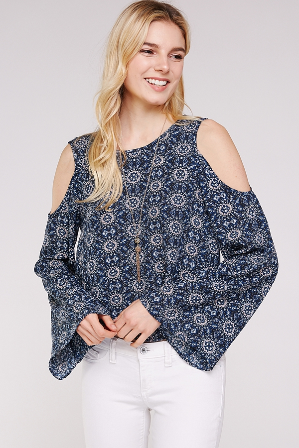Floral bell sleeve blouse top - orangeshine.com